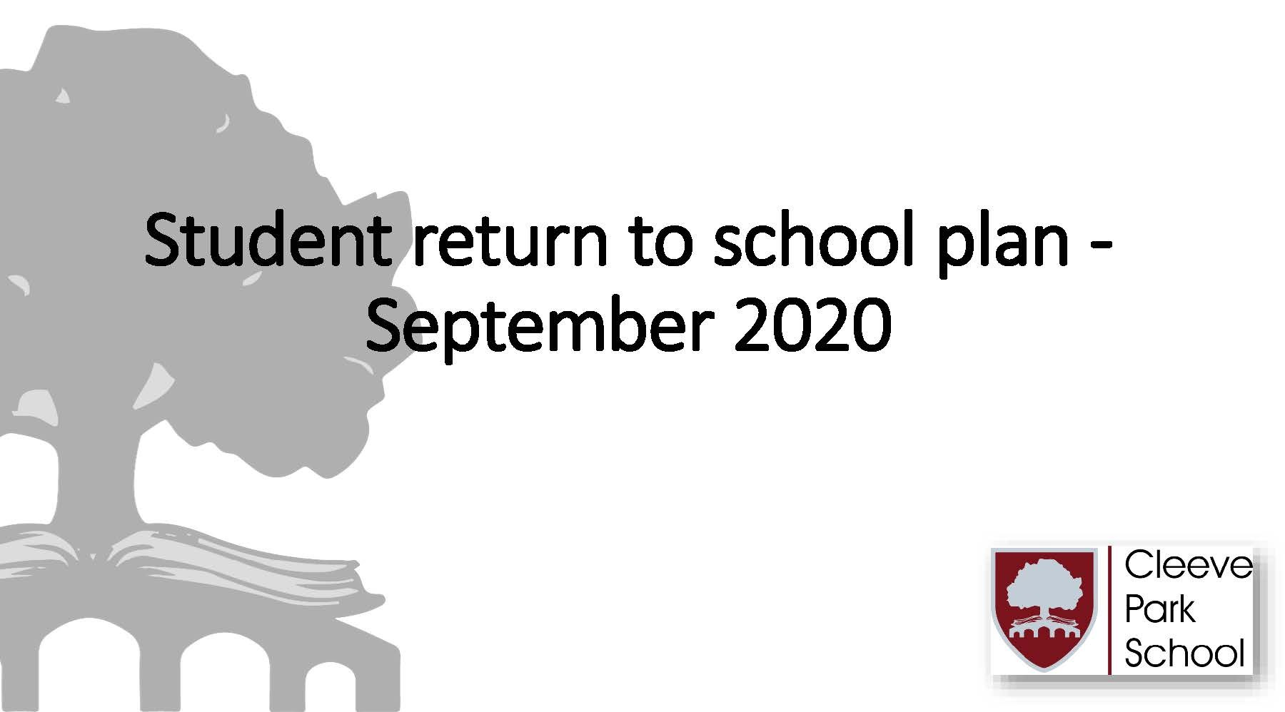 Student return to school plan September 2020 students Page 01